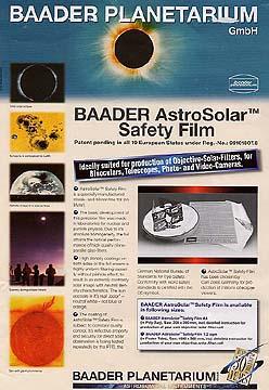 Слънчев филтър - фолио AstroSolar Safety Film 20x30cm ND = 5.0